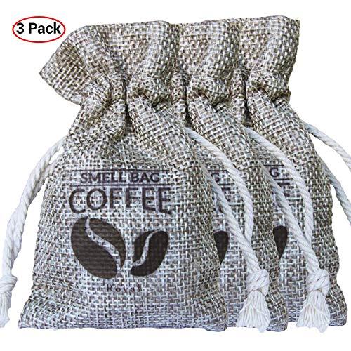 Roval Coffee Smell Bag - Natürlicher Kaffee Geruchseliminator, Luftreinigungsbeutel für Sporttaschen, Auto, Zuhause, Haustierbereiche (3 Pack)