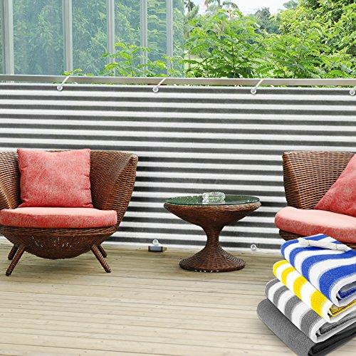 Balkon Sichtschutz UV-Schutz   90x500cm   wetterbeständiges und pflegeleichtes HDPE-Spezialgewebe   grau-weiß gestreift