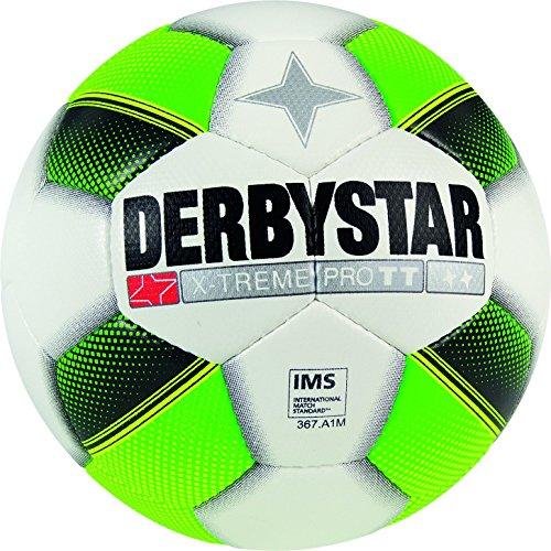 Derbystar Fußball X-Treme Pro TT, Trainingsball, Ball Größe 5 (420 - 440 g), weiß grün gelb, 1119