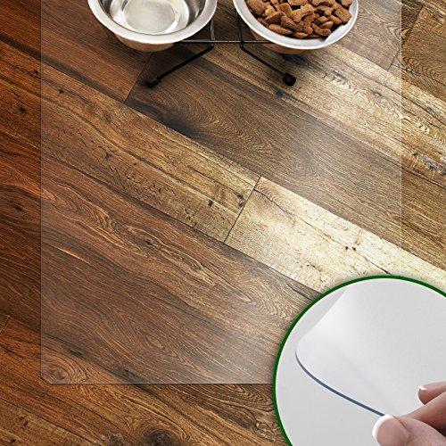 Napfunterlage für Hunde und Katzen | rutschfeste und abwaschbare Unterlegmatte | transparent | in vielen Größen | 80x60 cm