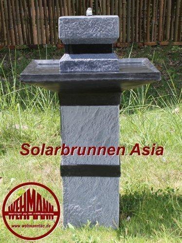 Wehmann Solarbrunnen Asia Solarspringbrunnen Zengarten Brunnen Komplettset für Garten und Terrasse Tag und Nacht !!!