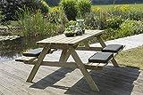 Picknicktisch 'Economy' 180 cm, 40 mm FSC Fichtenholz, druckimprägniert, klappbare Sitze