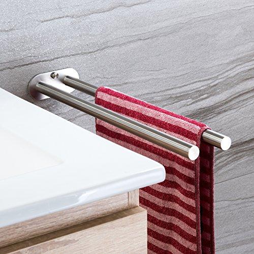 ZUNTO Handtuchhalter Zweiarmig Handtuchstange Bad Wandmontage Doppelt Edelstahl Gebürstet 40cm