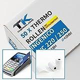 50 x EC Cash Thermorollen mit Lastschrifttext | B: 57mm – DM: 40mm - Kern DM: 12mm – L: 18m für Ingenico ict220 ict250 iwl250 und alle anderen EC-Cash-Thermodrucker
