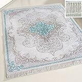 mynes Home Teppich waschbar Türkis mit Medaillon Muster waschmaschinengeeignet rutschhemmend Modern Designer Bad Flur Küche Läufer mit Bordüre (80 x 300 cm)
