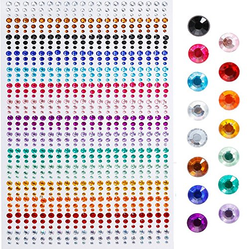 Faburo 900 Teile Schmucksteine Glitzersteine Aufkleber ,3mm ,4mm , 5mm ,Acryl Bunt Strasssteine Selbstklebend Zum Basteln