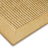 casa pura Sisal Teppich aus Naturfasern mit Bordüre aus Baumwolle | pflegeleicht | Größe wählbar (70 x 130 cm)