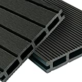 WPC Terrassendielen Basic Line - Komplett-Set Dunkelgrau | 24m² (4m x 6m) Holz-Brett Dielen | Boden-Fliesen + Unterkonstruktion & Clips | Balkon Boden-Belag + rutschfest + witterungsbeständig