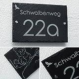 Schiefer Hausnummer & Straße Namen Wunsch-Gravur 1 Motiv Gratis (kein Druck) 30x20cm sofort personalisierbar Familienhaus Firmenschild Namensschild versch. Größen auf Anfrage Logo Garten Haus