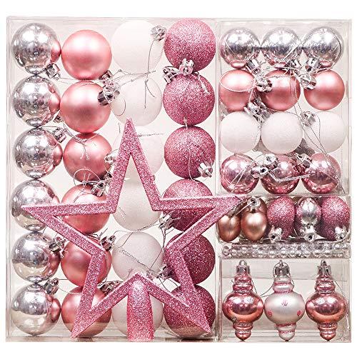 Valery Madelyn 60 TLG 4-20cm Plastik Weihnachtskugeln Rosa Silber Weiß Wundervolles Geheimnis Thema mit Christbaumkugeln Weihnachtsbaumspitze Perlenkette und Aufhänger Weihnachtsdekoration