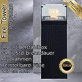 Bio Ethanol Feuersäule Feuerschale Feuerstelle Feuerkorb Kamin Ofen für Garten und Terrasse aus Polyrattan passend zu Sonnenliege und Gartenmöbel Farbe Schwarz