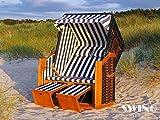 Swing & Harmonie Luxus Strandkorb XXL - 136cm Rügen Volllieger Ostsee Sonneninsel Rattan Möbel Gartenliege Polyrattan (Blau)