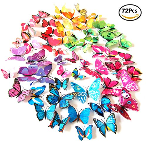 Foonii 72 PCS 3D Schmetterlinge Wanddeko Aufkleber Abziehbilder,schlagfestem Kunststoff Schmetterling Dekorationen, Wand-Dekor (12 Blau, 12 Farbe, 12 Grün, 12 Gelb, 12 Rosa, 12 Rot )