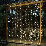 Salcar LED Lichtervorhang 3x3m 6x3m 9x3m IP44 Sterne Lichterkette, Lichtervorhang für Weihnachten, Partydekoration, Innenbeleuchtung, 8 Lichtprogramme (warmweiß)