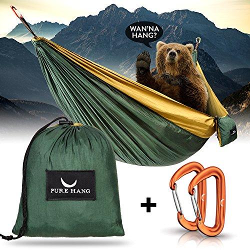 PURE HANG Premium Camping Hängematte Outdoor XXL 300kg Traglast 285cm x 185cm für 2 - 4 Personen Ultra-Leichte Fallschirm-Seide mit 2 Karabiner Befestigung - Reise Strand Garten Travel