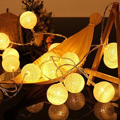 ELINKUME LED Lampion Lichterkette 20er Partylichterkette Deko für Innen Balkon Party Hochzeit Feiertag batterie-betrieben Kugeln/Bälle Lampions 3.3m warmweiß