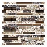 Render 6 Stücke 3D Selbstklebende Wandfliesen Aufkleber, Peel und Stick Vinyl Tapete Anti Mold Bad Esszimmer Küche Hotel Dekoration 10,2'x 11,8' 0,84 sq.ft/Piece (Brauner Marmor)