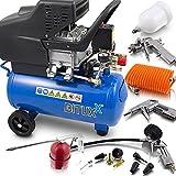 BITUXX Druckluftkompressor Luftdruck Kompressor 24 Liter + 13 teiliges Druckluft Zubehör-Set inkl. Ausblas- Reifendruck- & Lackierpistole + Schlauch