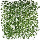 12 Stk künstlich Efeu Girlande (Jede Länge ca. 2 m) Wanddekoration Efeuranke Efeugirlande Efeubusch Kunstpflanze für Hochzeit Party Garten Wohnung Deko Ranke Pflanze