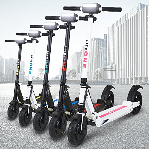 E-Scooter eFlux Lite One 350W Dauerleistung 500W Maximalleistung Elektro Aluminium faltbar Elektroroller Tretroller 8 Zoll easy fold 10,8 Kilogramm 7,8 Ampere Lithium Ionen Akku (Schwarz/Blau)