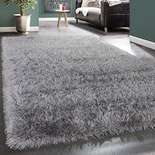 Shaggy Hochflor Teppich Modern Soft Garn Mit Glitzer In Uni Hellgrau Grau, Grösse:80x150 cm