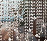 10 x 1M Türvorhang Kristall Girland Crystal Clear Acrylic Bead Garland Türvorhang hängende Partei Dekor Hochzeit DIY Dekor Anhänger Perlenvorhang ( mit Kristallen Diamant )
