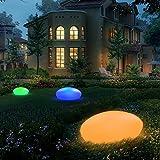 Gartenleuchte Solar, UOUNE Solarlampen für Außen 16 Farben IP67 Wasserdichte, Kieselstein Form Groß Solarleuchte für Garten/Hof/Teich/Pool