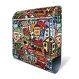BANJADO Design Briefkasten mit Zeitungsfach, 2 Schlüssel, A4 Einwurf, silber pulverbeschichtet, mit Motiv Funky Town
