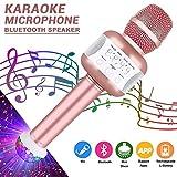 Bluetooth Karaoke Mikrofon mit Disco-Lichtern, Batterie Mikrofon Kabellos Anlage für die Aufnahme von Gesang und Sprache als Lautsprecher für PC, Laptop, iPhone, iPod, iPad, Android Smartphones und als Party Karaoke Mikrofon (Rose)