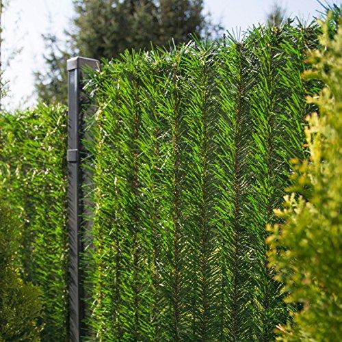 FairyTrees Sichtschutz Garten Zaunblende, GreenFences Hecke, Kiefernoptik Hellgrün, PVC, Höhe 230cm, 1m