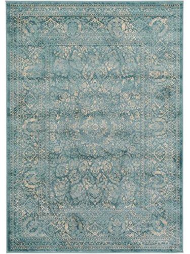 Benuta Vintage Teppich Im Used-Look, Kunstfaser, Blau, 120 x 170.0 x 2 cm