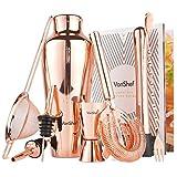 VonShef Premium Kupfer Pariser Cocktailshaker Set in Geschenkbox mit Rezepten & Zubehör