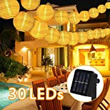 Solar Lichterkette Außen Lampions,6 Meter 30 LED 2 Modi Laterne IP65 Wasserdicht Solar Beleuchtung Aussen für Garten, Hof, Balkon, Hochzeit, Fest Deko(Warmweiß)