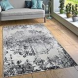 Designer Teppich Wohnzimmer Teppiche Ornamente Vintage Optik Schwarz Weiß, Grösse:200x280 cm
