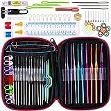 Anpro Häkelnadel Set mit 100 pcs Stricknadeln Zubehöre und Tasche in verschiedenen Größen, Bunt