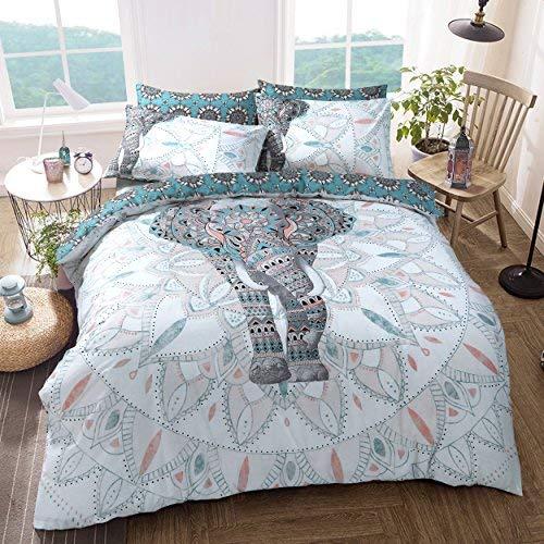 Sleep Down Bettwäsche-Set für Einzelbett, Baumwolle, Elefant Mandala