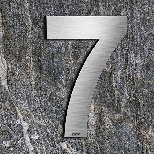 qoboob Edelstahl Hausnummern 7 Sieben Straße Nummer Fein gebürstet Silber 200mm (1 Stück)
