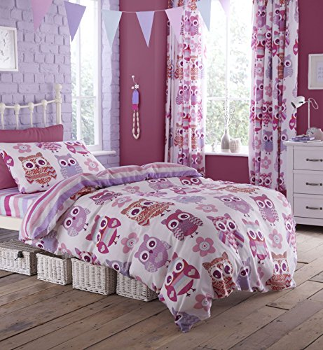 Catherine Lansfield Eule Single Size, rose, Single Quilt