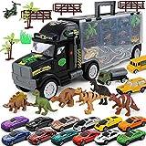 Transport Car Carrier Truck Dinosaurier Spielzeug für Jungen und Mädchen (12 Autos und 28 Slots)