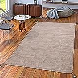 TT Home Handwebteppich Wohnzimmer Natur Webteppich Kelim Modern Baumwolle In Beige, Größe:240x340 cm