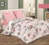 Bettwäsche 2 Teilig, Renforce-Baumwolle, Reißverschluss, 135x200 cm, Rosa, Blumen