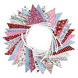 G2PLUS Süße Beidseitig Wimpel Girlande, 10M Bunting Wimpelkette mit 36 Stk Farbenfroh Wimpeln für Hochzeits Geburtstag Party (Blau)