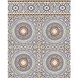 Mediterrane Keramik-Fliesen Tanger 20 x 20 cm 1 qm marokkanische Wandfliesen   Maurische Mosaik-Muster Wand-Dekoration im Bad & Küchenrückwand Küche Flur & Badezimmer