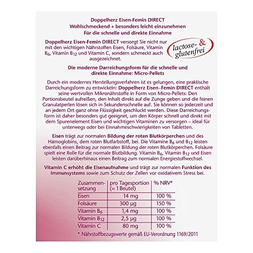 Doppelherz Eisen-Femin Direct mit Vitamin C + B6 + B12 + Folsäure – 14 mg Eisen für die normale Bildung von roten Blutkörperchen – 3 x 20 Portionen Micro-Pellets