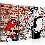 Bilder Mario and Cop Banksy Ziegel Mauer Wandbild 120 x 80 cm Vlies - Leinwand Bild XXL Format Wandbilder Wohnzimmer Wohnung Deko Kunstdrucke Rot 3 Teilig -100% MADE IN GERMANY - Fertig zum Aufhängen 303031b