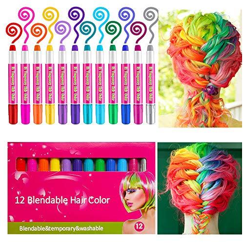Haarkreide,Sinicyder 12 Farben Temporäre Haarkreide Set Auswaschbare und ungiftige für Kinder Mädchen,Instant Haartönung & Gesichtsbemalung für Karneval Party Halloween Geburtstag