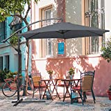 Hengda Für Garten, Terrasse, Loggia, Balkon, Camping-Platz, Pool, Planschbecken 3.5m Grau Sonnenschirm Garten Schirm Marktschirm Ampelschirm Kurbel Schirm