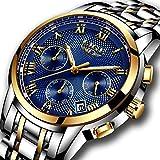 Herren Edelstahl Uhren Männer Chronograph Luxus Design Wasserdicht Datum Kalender Armbanduhr Geschäfts Beiläufig Mode Kleid Sport Analog Quarz Uhr mit Gold Gehäuse