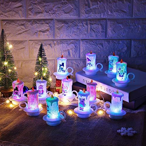 Prevently 12 Stück Weihnachtskerze Kerze Tasse LED Teelichter, LED Kerzen Flammenlose Kerze Elektrische Teelichter Kerzen für Weihnachten, Party, Bar, Hochzeit (Multicolor)
