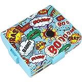 COM-FOUR Brotdose im Comic-Design für Unterwegs, Lunch-Box mit Trennwänden, 19,5 x 17,5 x 6,5 cm (01 Stück - Comic)